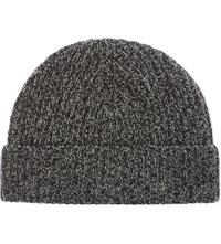 Johnstons Marled Cashmere Ribbed Beanie Charcoal