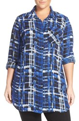 Sejour Plus Size Women's Plaid Georgette Tunic Shirt