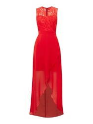 Elise Ryan Lace Top High Low Maxi Dress Red