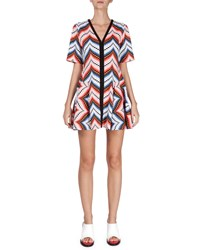 Kenzo Short Sleeve Chevron Mini Dress Peach Pink