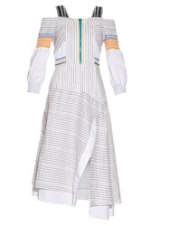 Peter Pilotto Tempo Smocked Off The Shoulder Dress White Stripe