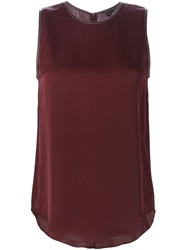 Theory Leather Trim Tank Top Red