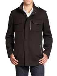Cole Haan Modern Twill Military Jacket Castle Rock Black