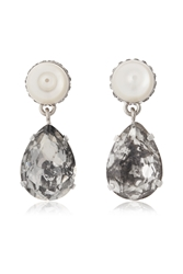 Givenchy Cone Pendant Earrings In Mother Of Pearl And Crystal