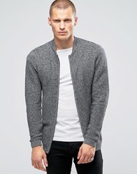 Jack And Jones Ribbed Zip Through Knitted Cardigan Grey