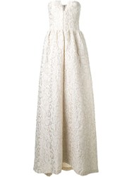 Alice Olivia Alice Olivia Embroidered Strapless Gown Nude And Neutrals