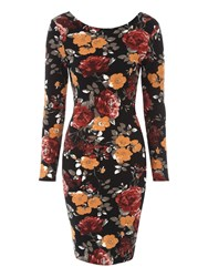 Jane Norman Floral Long Sleeve Crepe Dress Black