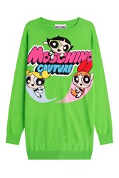 Moschino Printed Cotton Sweater Dress Green