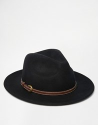 Asos Fedora Hat In Black Felt With Faux Leather Band Black