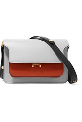 Marni Trunk Medium Color Block Leather Shoulder Bag Light Gray