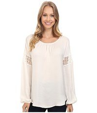 Bobeau Gracie Blouse With Crochet Trim Ivory Women's Blouse White