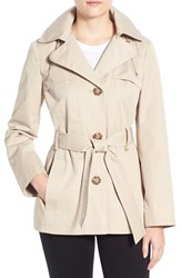 Women's Ellen Tracy Cotton Blend Short Trench Coat Sand