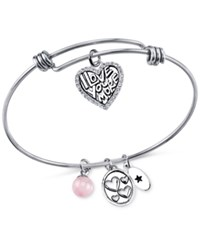 Unwritten I Love You More Charm And Cherry Quartz 8Mm Bangle Bracelet In Stainless Steel