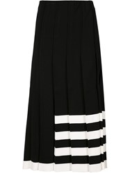 Calvin Klein Collection Striped Detail Pleated Skirt Black