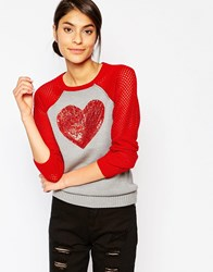 Love Moschino Sequin Heart Jumper Red