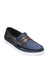 Cole Haan Canvas And Leather Penny Loafers Blazer Blue