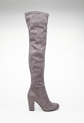 Forever 21 Faux Suede Over The Knee Boots Grey