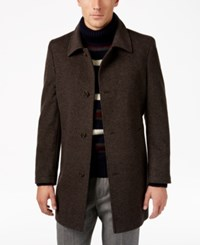 Tommy Hilfiger Men's Bloom Heathered Overcoat Brown