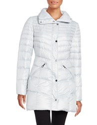 Karl Lagerfeld Packable Mid Length Puffer Down Coat Silver