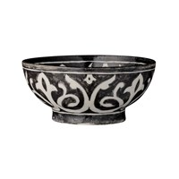 Day Birger Et Mikkelsen Indian Pattern Handpainted Pottery Bowl Black 17X8cm