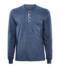 Tom Ford Slubby Chine Button Tee Male