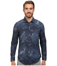 Calvin Klein Jeans Indigo Camo Shirt Denim Indigo Camo Men's Clothing Gray