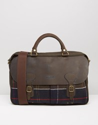 Barbour Tartan Briefcase Brown