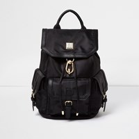 River Island Womens Black Flap Pocket Backpack