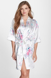 Cathys Concepts Personalized Floral Satin Robe White K