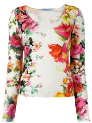 Blumarine Floral Print Knitted Top White