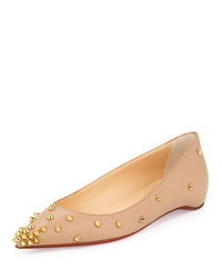 Christian Louboutin Degraspike Studded Point Toe Red Sole Flat Neutral