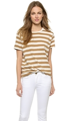 Edith A. Miller Boyfriend Short Sleeve Tee Tan Natural Wide Stripe