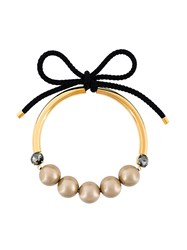 Marni Bow Fastening Pearl Necklace Nude And Neutrals