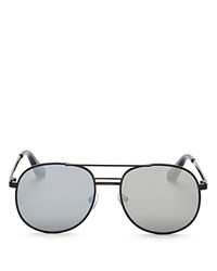 Elizabeth And James Watts Round Aviator Sunglasses 53Mm Black Silver Mirror Lens