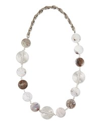 Rhodium Plate Medallion Agate Necklace Devon Leigh Silver