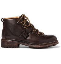 O'keeffe Alvis Pebble Grain Leather Boots Dark Brown