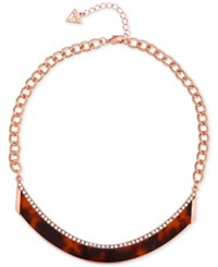 Guess Rose Gold Tone Red Tortoiseshell Look Curved Bar Collar Necklace Multi