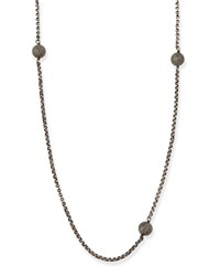 Sterling Silver Necklace With Pave Diamonds 54'L Sheryl Lowe Grey