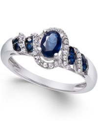 Macy's Gemstone 7 8 Ct. T.W. And Diamond 1 6 Ct. T.W. Twist Ring In Sterling Silver Blue