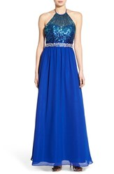 Women's Steppin Out Embellished Halter Gown