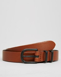 Asos Smart Super Skinny Leather Belt Tan