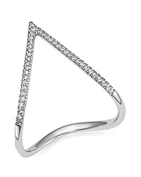Bloomingdale's Diamond Pave Chevron Ring In 14K White Gold .15 Ct. T.W.