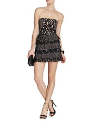 Bcbgmaxazria Ellie Mixed Lace Strapless Dress Black