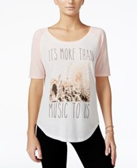 Hybrid Juniors' More Than Music Contrast Graphic Baseball T Shirt Ivory Oral