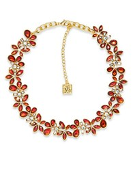 Anne Klein Flower Siam Epoxy Stone Collar Necklace Red