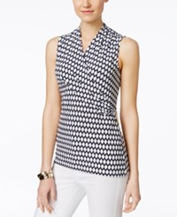 Charter Club Petite Sleeveless Printed Crossover Wrap Top Only At Macy's Intrepid Blue