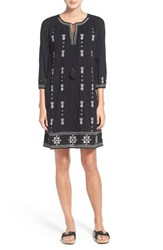 Petite Women's Caslon Three Quarter Sleeve Embroidered Shift Dress Black Woods Embroidery