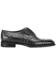 Fratelli Rossetti Crocodile Skin Effect Oxfords Black