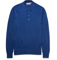 Canali Slim Fit Garment Dyed Cotton Polo Shirt Blue