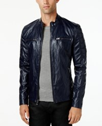 Guess Men's Textured Faux Leather Jacket Blue